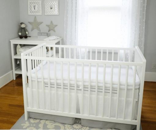 Safe Sleep Crib Mattress White base with white topper in classic white crib