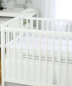 Safe Sleep Crib Mattress White base with white topper in white crib