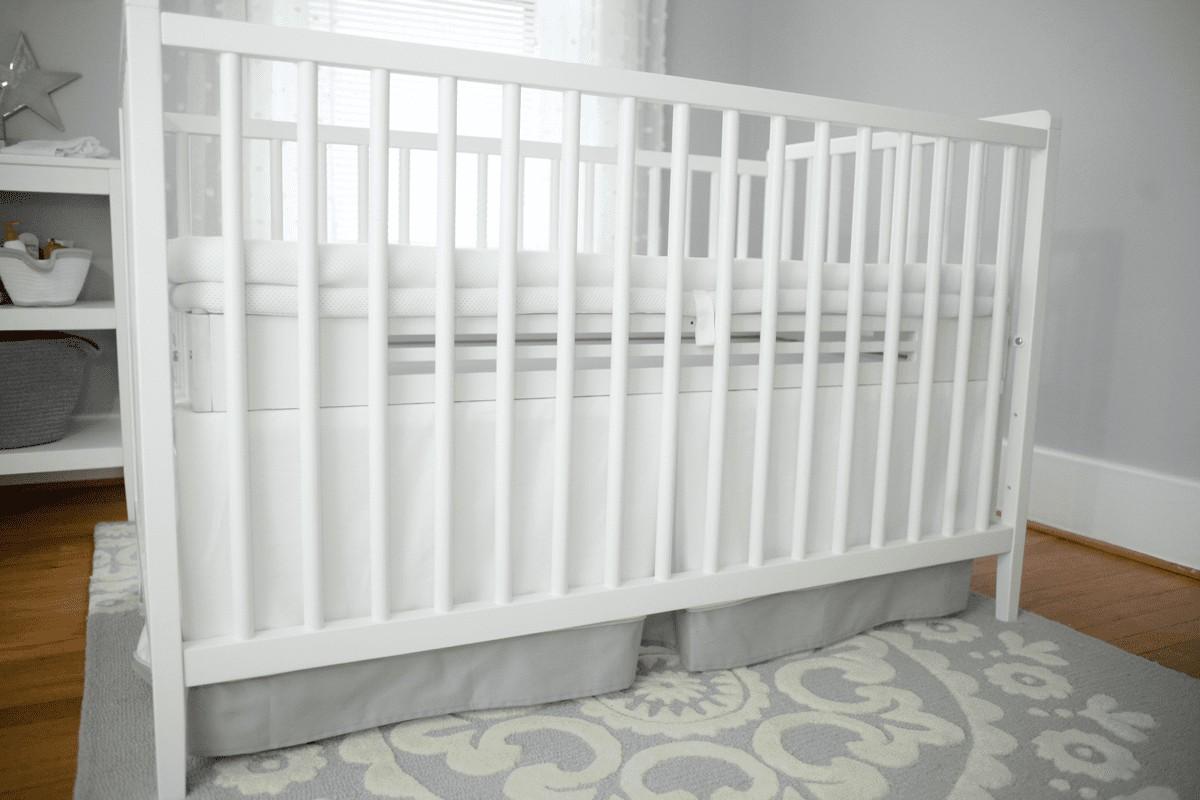 SafeSleep Breathe-Through Crib Mattress White Topper shown in White Classic Crib