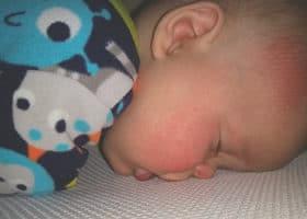 Safe Sleep Breathe-Through Crib MattressTestimonial-Brooke Heithoff baby sleeping face straight down on mattress