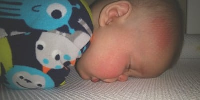 Safe Sleep Breathe-Through Crib MattressTestimonial-Brooke Heithoff baby sleeping face straight down on mattress
