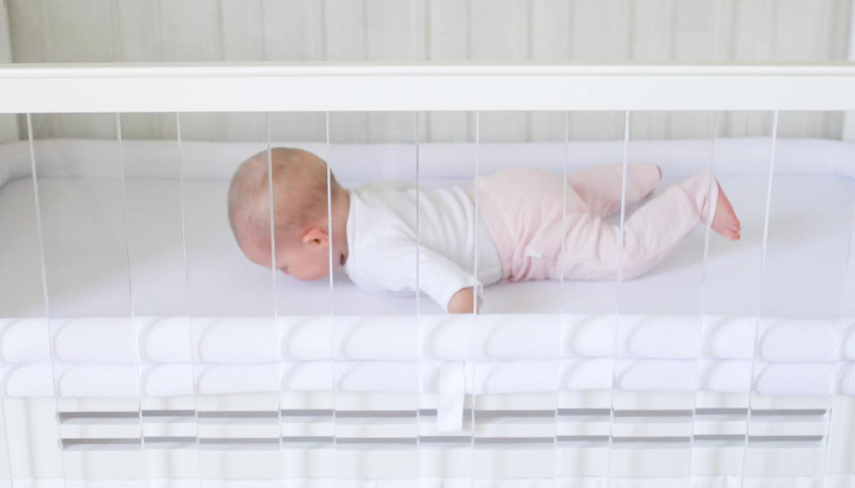 SafeSleep Breathe-Through Crib Mattress Baby is breathing through the crib mattress
